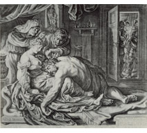 Samson and Delilah Engraving by Jacob Matham